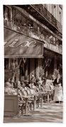 Paris Cafe 1935 Sepia Bath Towel