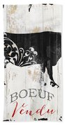 Paris Farm Sign Cow Bath Towel