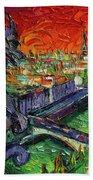 Paris Gargoyle Contemplation Textural Impressionist Stylized Cityscape Bath Towel