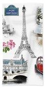 Paris Landmarks. Illustration In Draw, Sketch Style.  Bath Towel
