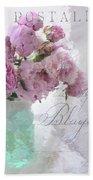 Paris Peonies - Parisian Pink Peonies Pink Aqua French Decor - Paris Floral Wall Art Home Decor  Hand Towel