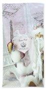 Paris Shabby Chic Holiday Santa - Paris Pink Santa Claus Joyeux Noel - Pink Santa Eiffel Tower Print Bath Towel