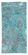 Paris Traffic Abstract Blue Map Bath Towel