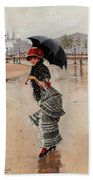 Parisienne On A Rainy Day Bath Towel