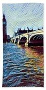 Parliament Across The Thames Bath Towel