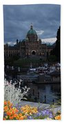 Parliament Building In Victoria At Dusk Bath Towel