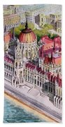 Parliment Of Hungary Hand Towel by Charles Hetenyi