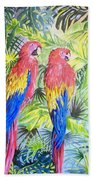 Parrots In Jungle Bath Towel