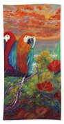 Parrots On Sunset Beach Bath Towel