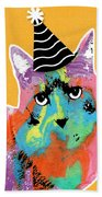Party Cat- Art By Linda Woods Hand Towel