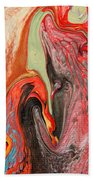Passionate Waves Abstract Painting Bath Sheet