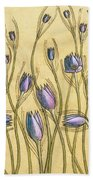 Pastel Floral Pattern On Soft Yellow Background Bath Towel