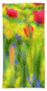 Pastel Summer Flowers  Bath Towel