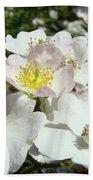 Pastel White Yellow Pink Roses Garden Art Prints Baslee Bath Towel
