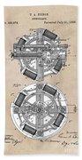 patent art Edison 1888 Phonograph Hand Towel