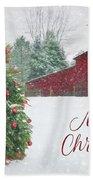 Patriotic Merry Christmas Bath Towel