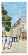 Paul Fischer, Sunny Street Scene, Bredgade, Copenhagen. Bath Towel
