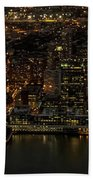 Paulus Hook, Jersey City Aerial Night View Bath Towel