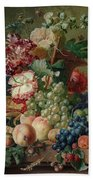 Paulus Theodorus Van Brussel - Still Life Of Flowers And Fruit On A Stone Ledge, Bath Towel