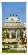 Pavilion And Fountain, Udaipur, India Bath Towel