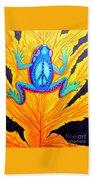 Peace Frog On Fall Leaf Bath Towel