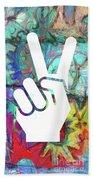 Peace Hand Sign 1  Bath Towel