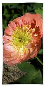 Peach Colored Poppy Bath Towel