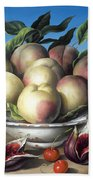 Peaches In Delft Bowl With Purple Figs Bath Towel