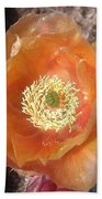 Peachy Opuntia Flower Bath Towel