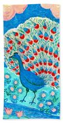 Peacock And Lily Pond Bath Towel
