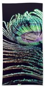 Peacock Feather With Dark Background Bath Towel