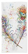 Peacock Feathers-colorful Bath Towel