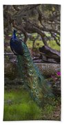 Peacock On The Plantation Bath Towel