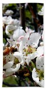 Pear Blossoms And Bee Bath Towel