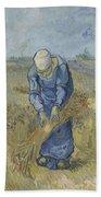 Peasant Woman Binding Sheaves After Millet Saint Remy De Provence  September 1889 Vincent Van Gogh Bath Towel