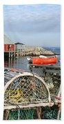 Peggys Cove And Lobster Traps Hand Towel