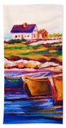 Peggys Cove  Four  Row Boats Bath Towel