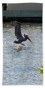 Pelican On The Waves Bath Towel