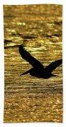 Pelican Silhouette - Golden Gulf Bath Towel