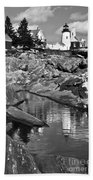 Pemaquid Point Lighthouse Maine Black And White Bath Towel