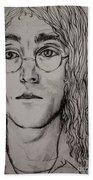 Pencil Portrait Of John Lennon  Hand Towel
