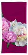 Peonies In Pink And Blue Bath Towel