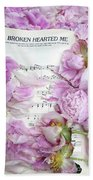 Peonies On Music Sheet - Pink Peonies Shabby Chic Inspirational Print - Peony Home Decor Bath Towel
