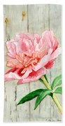 Peony At The Fence Bath Towel