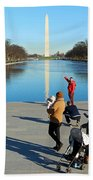 People At The Reflecting Pool Bath Towel