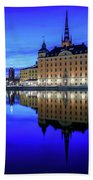 Perfect Riddarholmen Blue Hour Reflection Bath Towel