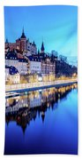 Perfect Sodermalm And Mariaberget Blue Hour Reflection Hand Towel