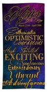 Personality Traits Of An Aries Hand Towel by Mamie Thornbrue