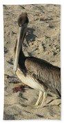 Peruvian Pelican Standing On A Sandy Beach Bath Towel