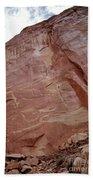 Petroglyphs On A Sheer Rock Wall Bath Towel
